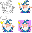 Happy wizard waving with magic wand collection vector