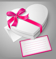 Realistic blank white heart shape box with vector