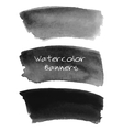 Watercolor black and grey banners set vector