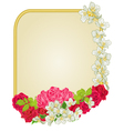 Golden frame with roses and jasmine greeting card vector