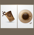 Cup of coffee in the background cards vector