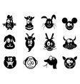 Cute cartoon chinese zodiac icontwelve animals vector