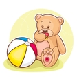 Teddy with ball vector
