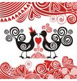 Valentines day card bird hearts vector