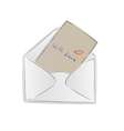Opened postal envelope with love letter and kiss vector