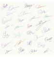 Set of unique hanwritten signatures vector