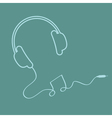 Headphones with cord music background card outline vector