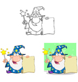 Wizard with magic wand and holding up a scroll vector