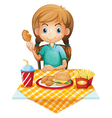 A hungry young girl eating vector