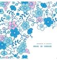 Blue and pink kimono blossoms frame corner vector