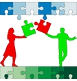 Jigsaw puzzle hold silhouettes of men and women vector
