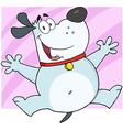 Gray fat dog cartoon character jumping vector