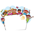 Kids behind the banner vector