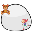 A round template with a young girl rollerskating vector