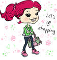 Cute hipster baby girl with bag vector