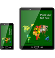 Smart phones with maps vector