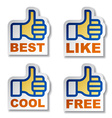 Thumb up hand stickers vector