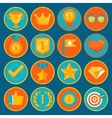 Set of 16 flat gamification icons vector