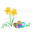 Easter egg with daffodils with grass vector