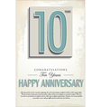 10 years anniversary retro background vector
