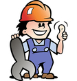 Hand-drawn of an happy mechanic or handyman vector