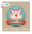 Cat vintage label vector