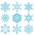 Set of blue snowflakes elements for design vector