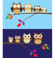 Owl family day night vector