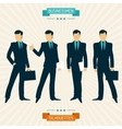 Silhouettes of businessmen in retro style vector