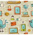 Social media cartoon pattern vector