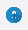 Photo camera tripod flat blue simple icon with vector