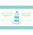 Wedding vintage invitation card - bird cage theme vector