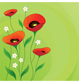 Retro summer background with poppies vector