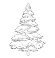 Furtree with snow contours vector