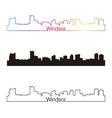 Windsor skyline linear style with rainbow vector