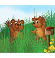 Two young bears near a wooden mailbox vector