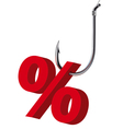 Percent sign on the hook isolated vector