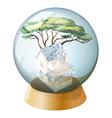 A crystal ball with a house inside vector