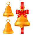 Gold christmas bells vector