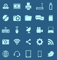 Hi tech color icons on blue background vector