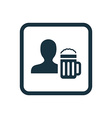 Man with beer glass icon rounded squares button vector