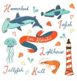 Cute colorful sea alphabet vector