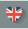 Heart-shaped icon with flag of the uk vector