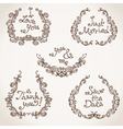 Set of hand-drawn calligraphic vintage wreathes vector