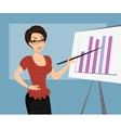 Female teacher is demonstrating a diagram vector