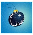 Merry christmas on the christmas tree blue toys vector