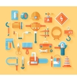 Flat working tools icon set vector