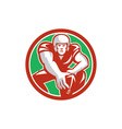 Football player snap circle retro vector