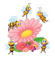 A big flower surrounded with bees vector