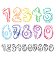Hand-drawn numbers vector